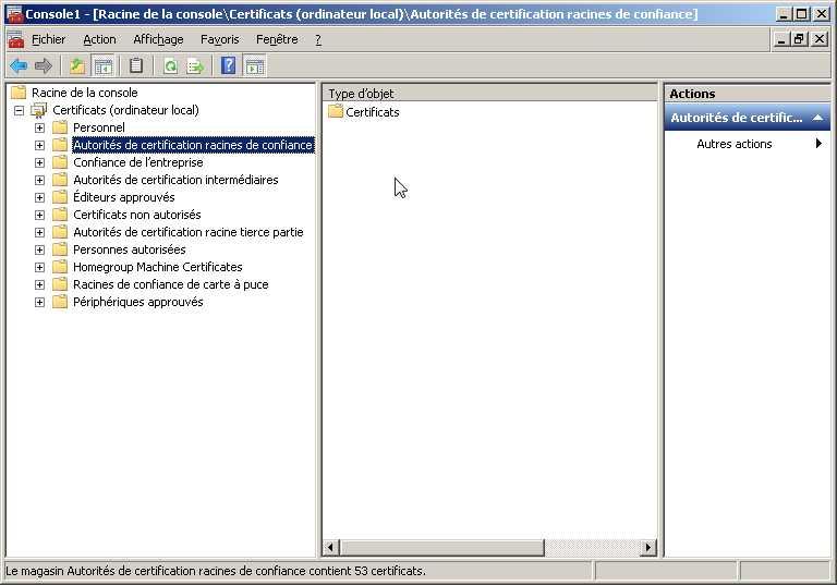 Afficher les certificats pour vérifier si votre machine Dell possède le certificat root eDellRoot ?