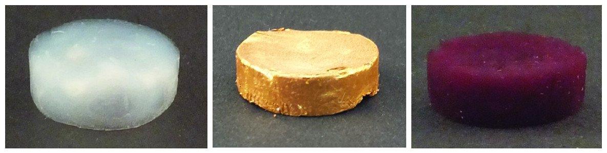 Sur la gauche, vous avez une mousse de filaments de protéines amyloïdes sans l'or. Au milieu, vous avez l'aérogel composé de microparticules d'or. Et sur la droite, le même aérogel d'or composé de nanoparticules d'or.