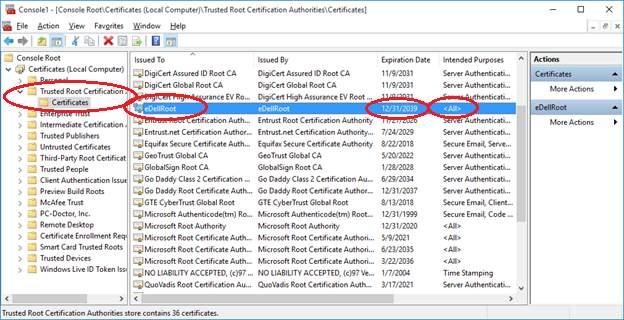 certificat-eDellRoot-Dell