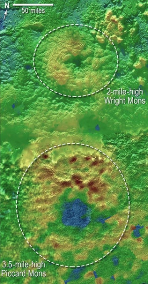 Une carte topographique des volcans de glace sur Pluton